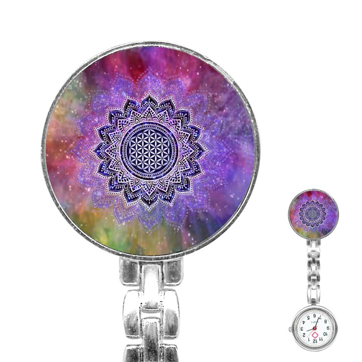 Flower Of Life Indian Ornaments Mandala Universe Stainless Steel Nurses Watch