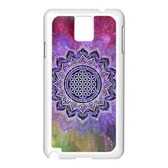 Flower Of Life Indian Ornaments Mandala Universe Samsung Galaxy Note 3 N9005 Case (white)