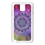 Flower Of Life Indian Ornaments Mandala Universe Samsung Galaxy Note 3 N9005 Case (White) Front