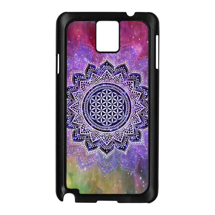 Flower Of Life Indian Ornaments Mandala Universe Samsung Galaxy Note 3 N9005 Case (Black)