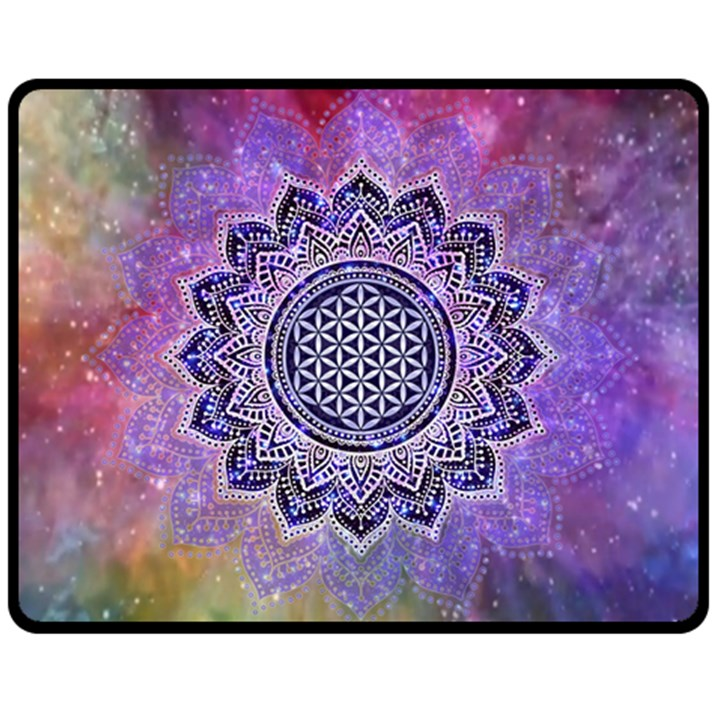 Flower Of Life Indian Ornaments Mandala Universe Double Sided Fleece Blanket (Medium)