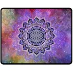 Flower Of Life Indian Ornaments Mandala Universe Double Sided Fleece Blanket (Medium)  60 x50 Blanket Back