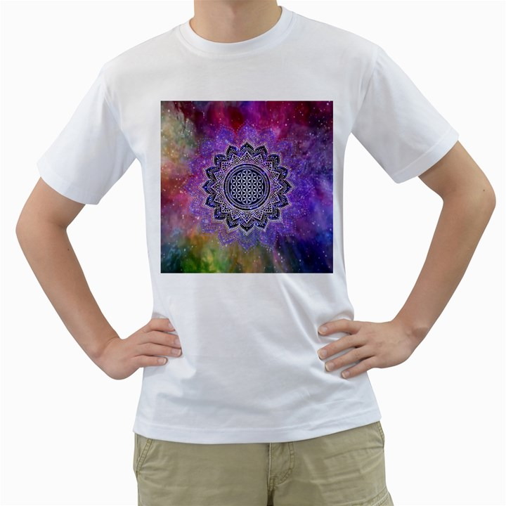 Flower Of Life Indian Ornaments Mandala Universe Men s T-Shirt (White)