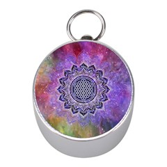 Flower Of Life Indian Ornaments Mandala Universe Mini Silver Compasses
