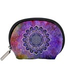 Flower Of Life Indian Ornaments Mandala Universe Accessory Pouches (Small)  Front