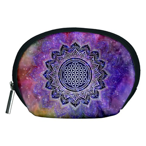Flower Of Life Indian Ornaments Mandala Universe Accessory Pouches (Medium)