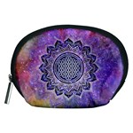 Flower Of Life Indian Ornaments Mandala Universe Accessory Pouches (Medium)  Front
