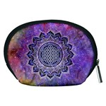 Flower Of Life Indian Ornaments Mandala Universe Accessory Pouches (Medium)  Back