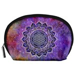 Flower Of Life Indian Ornaments Mandala Universe Accessory Pouches (Large)  Front