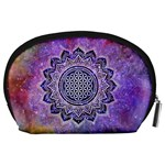 Flower Of Life Indian Ornaments Mandala Universe Accessory Pouches (Large)  Back