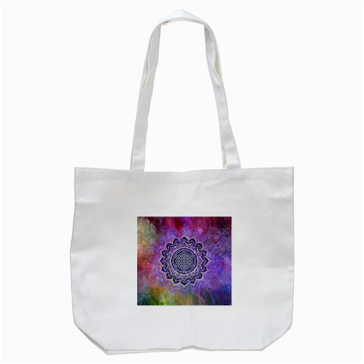 Flower Of Life Indian Ornaments Mandala Universe Tote Bag (White)