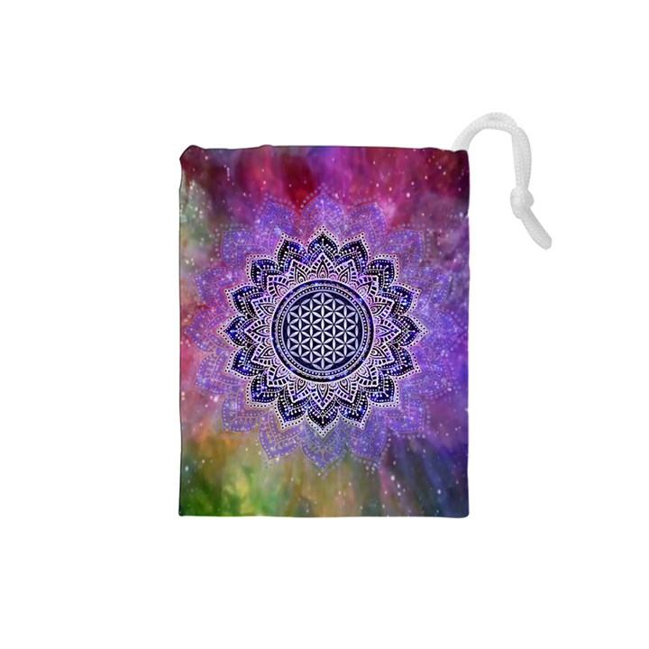 Flower Of Life Indian Ornaments Mandala Universe Drawstring Pouches (Small)