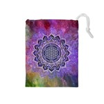 Flower Of Life Indian Ornaments Mandala Universe Drawstring Pouches (Medium)  Front