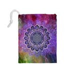 Flower Of Life Indian Ornaments Mandala Universe Drawstring Pouches (Medium)  Back