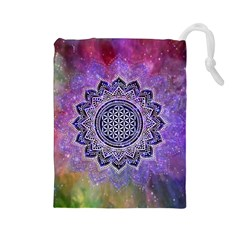 Flower Of Life Indian Ornaments Mandala Universe Drawstring Pouches (large)
