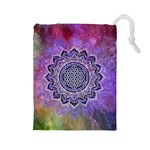 Flower Of Life Indian Ornaments Mandala Universe Drawstring Pouches (Large)  Front