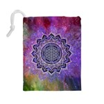 Flower Of Life Indian Ornaments Mandala Universe Drawstring Pouches (Large)  Back