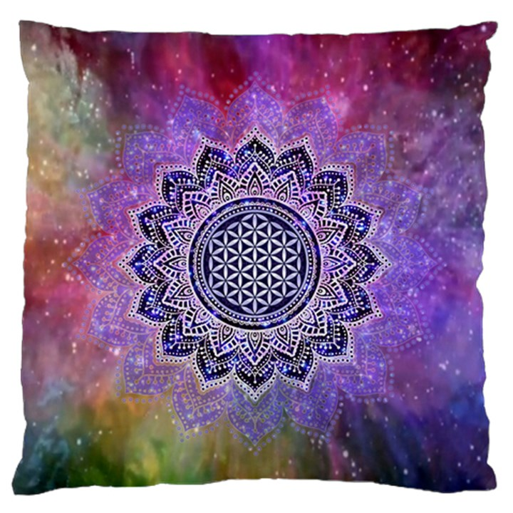 Flower Of Life Indian Ornaments Mandala Universe Large Flano Cushion Case (Two Sides)