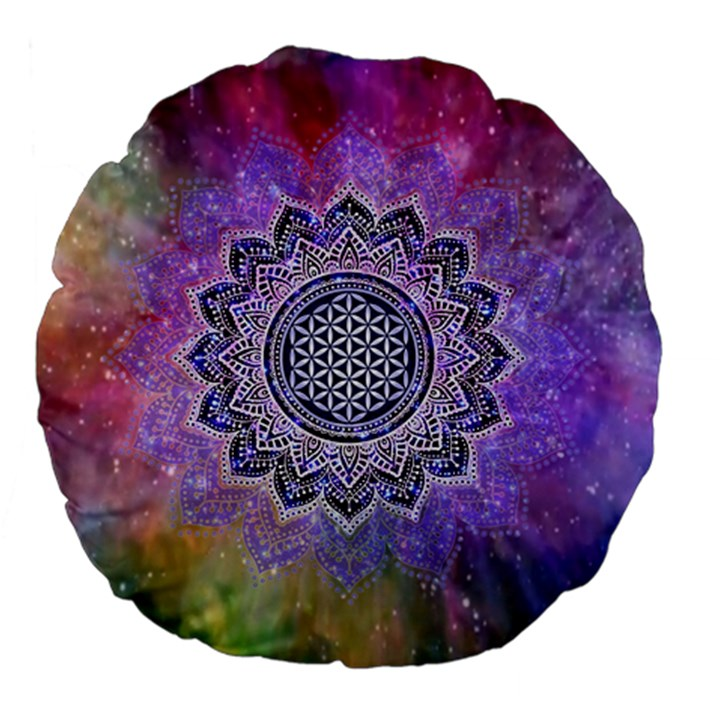 Flower Of Life Indian Ornaments Mandala Universe Large 18  Premium Flano Round Cushions