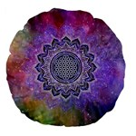 Flower Of Life Indian Ornaments Mandala Universe Large 18  Premium Flano Round Cushions Back