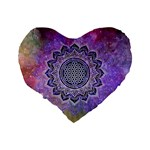 Flower Of Life Indian Ornaments Mandala Universe Standard 16  Premium Flano Heart Shape Cushions Back