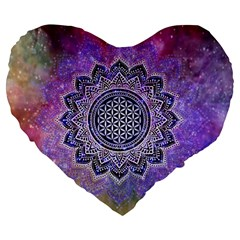 Flower Of Life Indian Ornaments Mandala Universe Large 19  Premium Flano Heart Shape Cushions