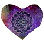 Flower Of Life Indian Ornaments Mandala Universe Large 19  Premium Flano Heart Shape Cushions Front