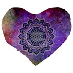 Flower Of Life Indian Ornaments Mandala Universe Large 19  Premium Flano Heart Shape Cushions Back