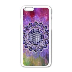 Flower Of Life Indian Ornaments Mandala Universe Apple iPhone 6/6S White Enamel Case