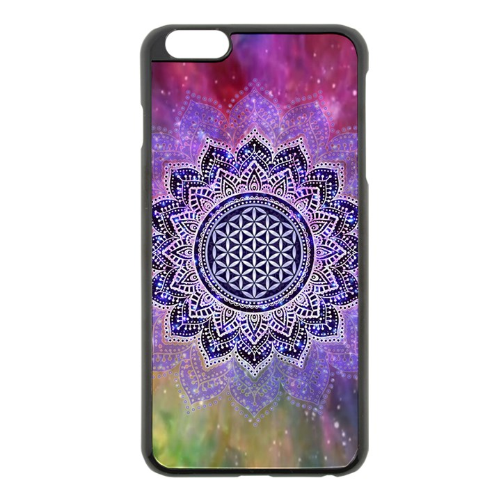 Flower Of Life Indian Ornaments Mandala Universe Apple iPhone 6 Plus/6S Plus Black Enamel Case