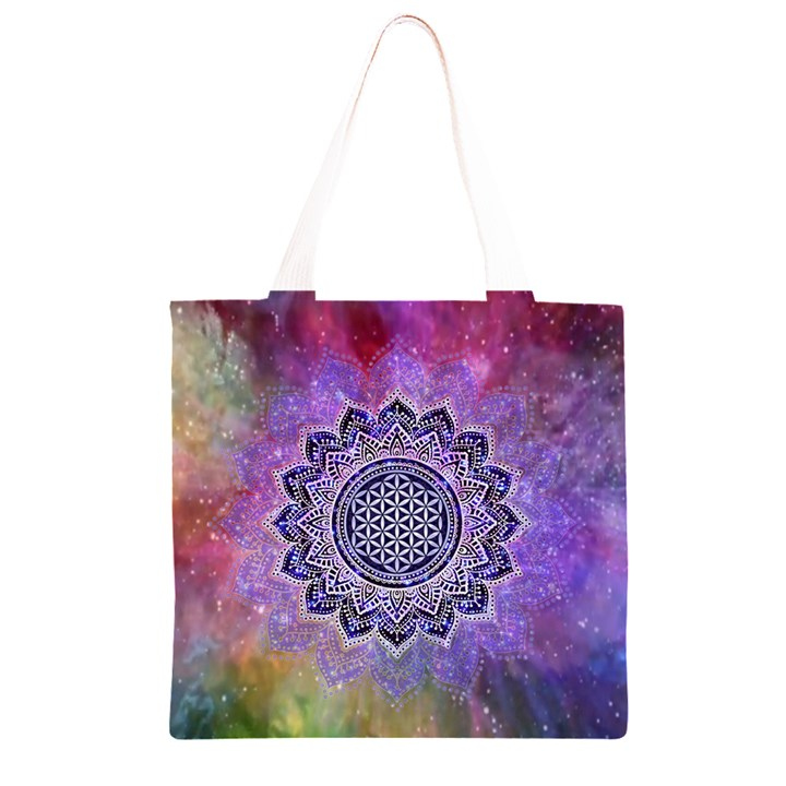 Flower Of Life Indian Ornaments Mandala Universe Grocery Light Tote Bag