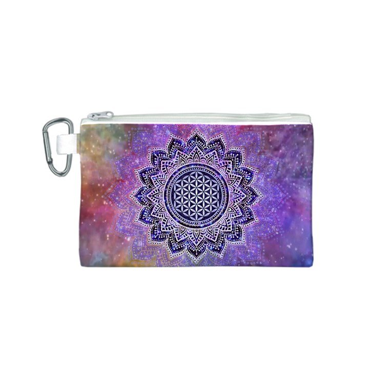 Flower Of Life Indian Ornaments Mandala Universe Canvas Cosmetic Bag (S)