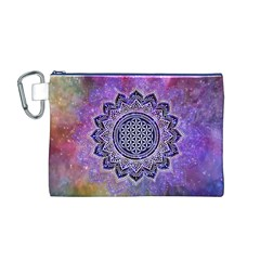 Flower Of Life Indian Ornaments Mandala Universe Canvas Cosmetic Bag (M)