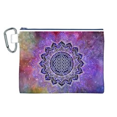 Flower Of Life Indian Ornaments Mandala Universe Canvas Cosmetic Bag (l)