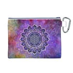 Flower Of Life Indian Ornaments Mandala Universe Canvas Cosmetic Bag (L) Back