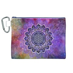 Flower Of Life Indian Ornaments Mandala Universe Canvas Cosmetic Bag (XL)