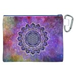 Flower Of Life Indian Ornaments Mandala Universe Canvas Cosmetic Bag (XXL) Back