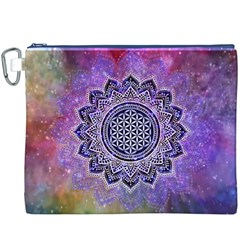 Flower Of Life Indian Ornaments Mandala Universe Canvas Cosmetic Bag (XXXL)
