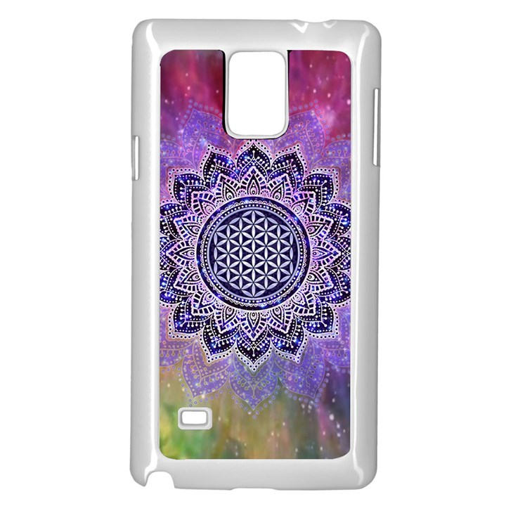 Flower Of Life Indian Ornaments Mandala Universe Samsung Galaxy Note 4 Case (White)