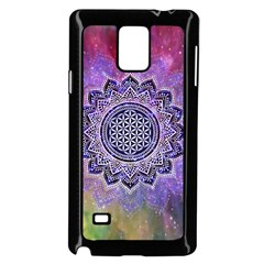 Flower Of Life Indian Ornaments Mandala Universe Samsung Galaxy Note 4 Case (Black)