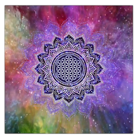 Flower Of Life Indian Ornaments Mandala Universe Large Satin Scarf (Square)