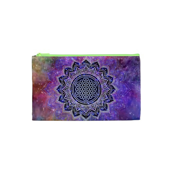 Flower Of Life Indian Ornaments Mandala Universe Cosmetic Bag (XS)