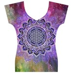 Flower Of Life Indian Ornaments Mandala Universe Women s V-Neck Cap Sleeve Top Front