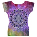 Flower Of Life Indian Ornaments Mandala Universe Women s V-Neck Cap Sleeve Top Back