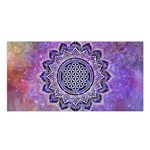 Flower Of Life Indian Ornaments Mandala Universe Satin Shawl Front