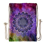 Flower Of Life Indian Ornaments Mandala Universe Drawstring Bag (Large) Front