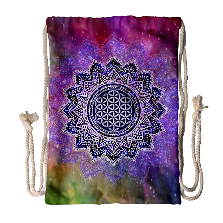 Flower Of Life Indian Ornaments Mandala Universe Drawstring Bag (Large)