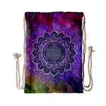 Flower Of Life Indian Ornaments Mandala Universe Drawstring Bag (Small) Back