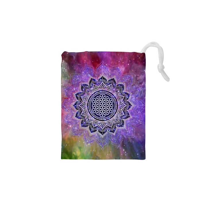 Flower Of Life Indian Ornaments Mandala Universe Drawstring Pouches (XS)