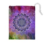 Flower Of Life Indian Ornaments Mandala Universe Drawstring Pouches (Extra Large) Front